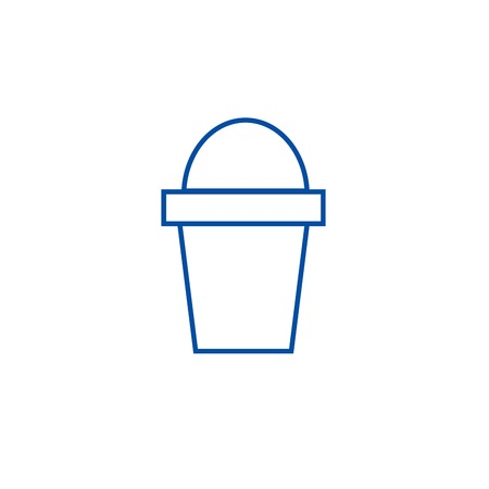 Bucket line concept icon. Bucket flat  vector website sign, outline symbol, illustration. Illustration