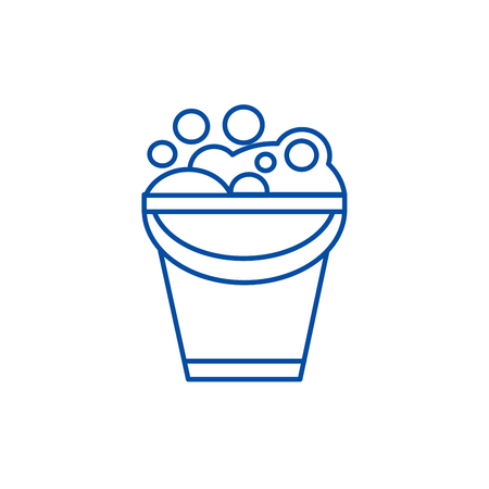 Bucket with soap foam line concept icon. Bucket with soap foam flat  vector website sign, outline symbol, illustration. Illustration