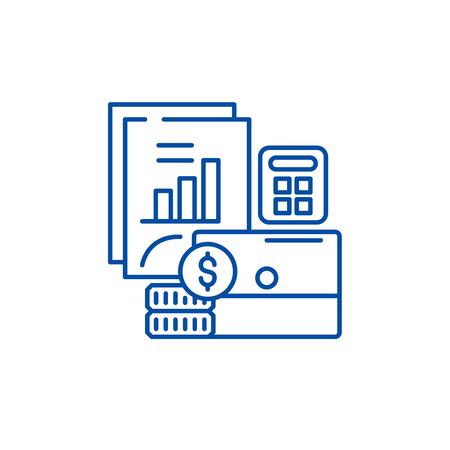 Budget planning line concept icon. Budget planning flat vector website sign, outline symbol, illustration.