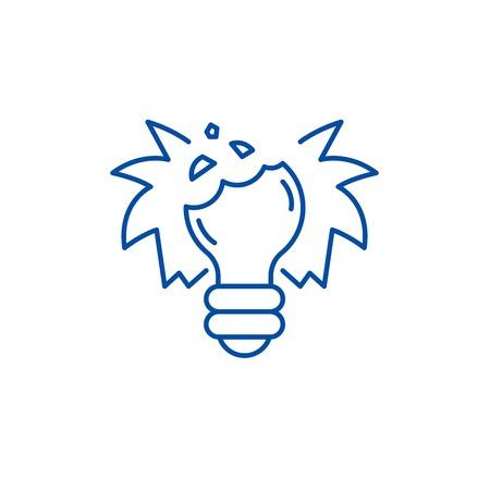 Broken dreams line concept icon. Broken dreams flat  vector website sign, outline symbol, illustration.