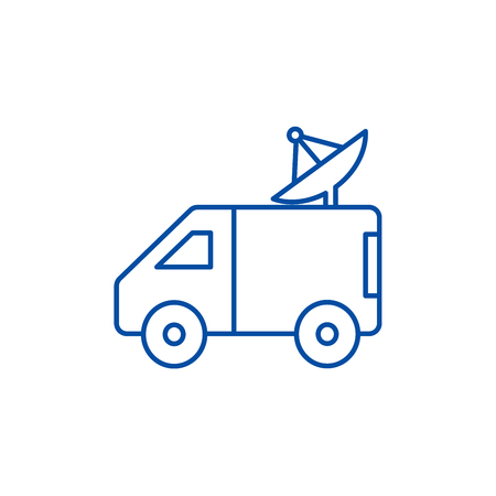 Broadcasting car with satellite dish line concept icon. Broadcasting car with satellite dish flat  vector website sign, outline symbol, illustration.