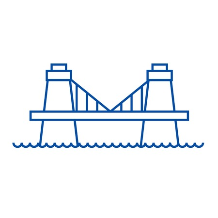British bridge line concept icon. British bridge flat  vector website sign, outline symbol, illustration.