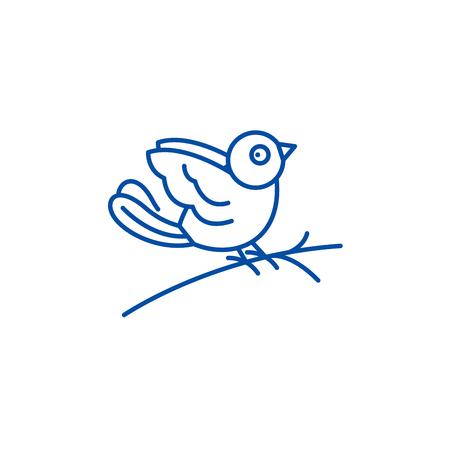 Bullfinch line concept icon. Bullfinch flat  vector website sign, outline symbol, illustration. Stock Illustratie