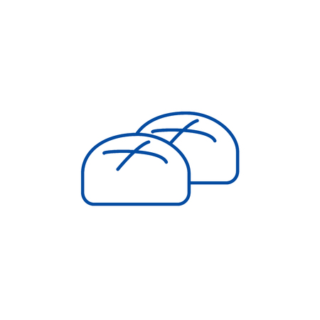 Buns, roll, baked bread line concept icon. Buns, roll, baked bread flat  vector website sign, outline symbol, illustration. 向量圖像