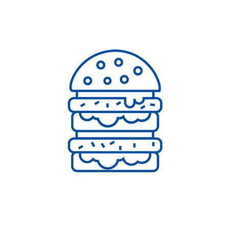 Burger,hamburger line concept icon. Burger,hamburger flat  vector website sign, outline symbol, illustration.