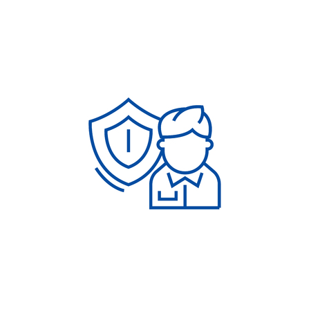 Business insurance line concept icon. Business insurance flat  vector website sign, outline symbol, illustration.