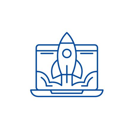 Icono de concepto de línea de lanzamiento empresarial. Lanzamiento de negocio sitio web vector plano signo, símbolo de contorno, Ilustración.