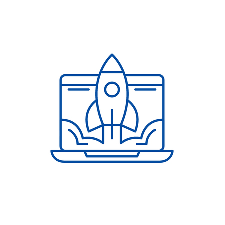 Ikona koncepcja uruchomienia linii biznesowych. Uruchomienie firmy płaski wektor stronie internetowej znak, symbol konspektu, ilustracja.