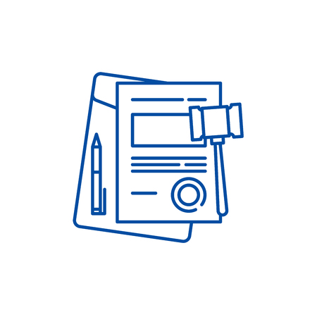 Business law line concept icon. Business law flat  vector website sign, outline symbol, illustration. Illustration