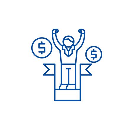 Business leadership line concept icon. Business leadership flat vector website sign, outline symbol, illustration.