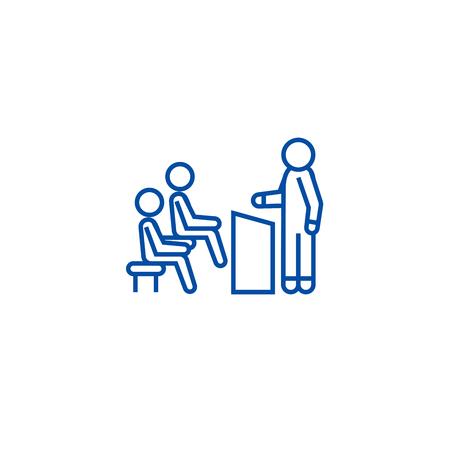 Business lecturer line concept icon. Business lecturer flat  vector website sign, outline symbol, illustration.