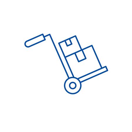 Bulky delivery line concept icon. Bulky delivery flat  vector website sign, outline symbol, illustration. Illustration