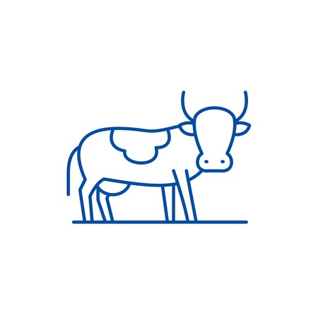 Bull line concept icon. Bull flat  vector website sign, outline symbol, illustration.