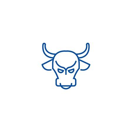 Bull market,stock market,bullish line concept icon. Bull market,stock market,bullish flat  vector website sign, outline symbol, illustration.