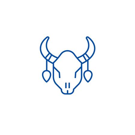 Bull skull line concept icon. Bull skull flat  vector website sign, outline symbol, illustration.