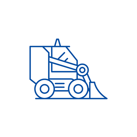 Bulldozer line concept icon. Bulldozer flat  vector website sign, outline symbol, illustration.  イラスト・ベクター素材