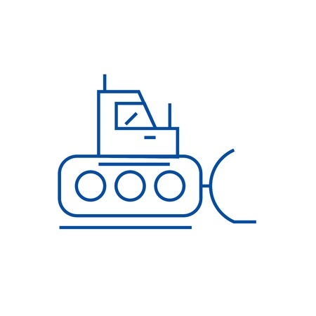 Bulldozer, excavator line concept icon. Bulldozer, excavator flat  vector website sign, outline symbol, illustration. Illustration