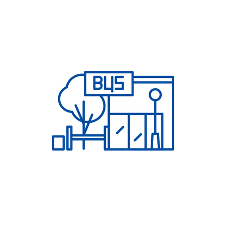 Bus stop line concept icon. Bus stop flat  vector website sign, outline symbol, illustration.