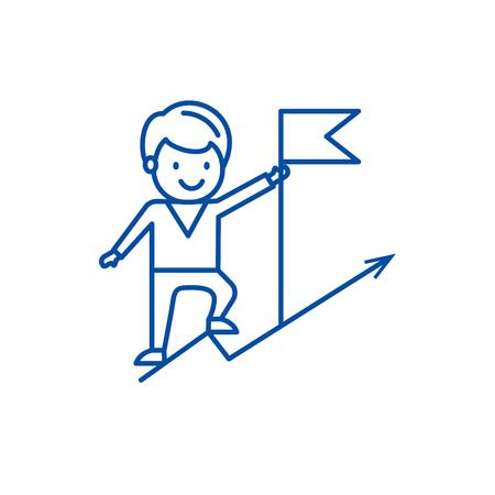 Businenessman achivieng goal,flag  line concept icon. Businenessman achivieng goal,flag  flat  vector website sign, outline symbol, illustration.