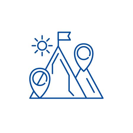 Business purpose line concept icon. Business purpose flat  vector website sign, outline symbol, illustration.