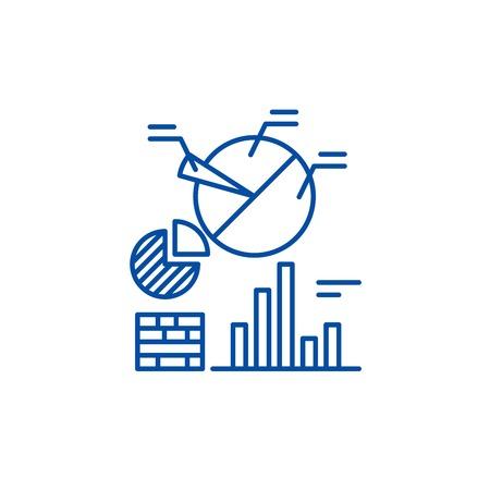 Business analytics line concept icon. Business analytics flat  vector website sign, outline symbol, illustration. Illustration