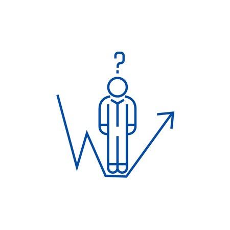 Geschäftsfrage, Geschäftsmann Wachstum Symbol Leitung Konzept. Geschäftsfrage, Geschäftsmannwachstumslinie flaches Vektor-Website-Zeichen, Umrisssymbol, Illustration. Vektorgrafik