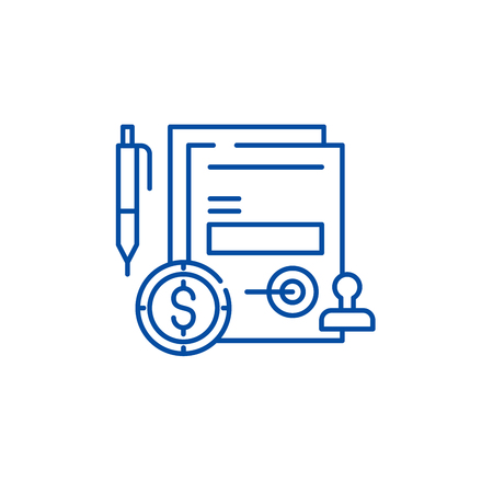 Business commitment line concept icon. Business commitment flat  vector website sign, outline symbol, illustration. Illustration