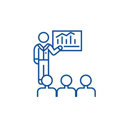 Business conference, mentor teaching line concept icon. Business conference, mentor teaching flat  vector website sign, outline symbol, illustration. 일러스트