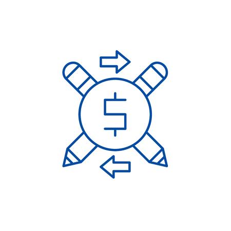 Business copywriter line concept icon. Business copywriter flat  vector website sign, outline symbol, illustration.