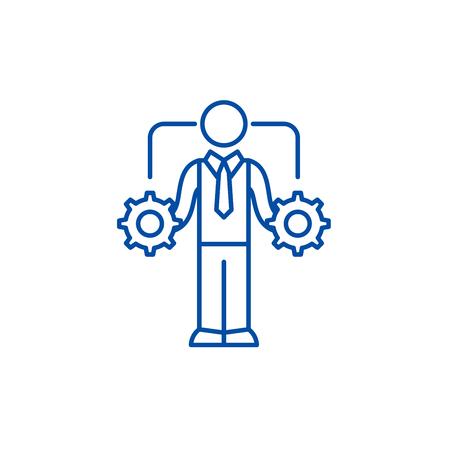 Business decision making line concept icon. Business decision making flat  vector website sign, outline symbol, illustration.