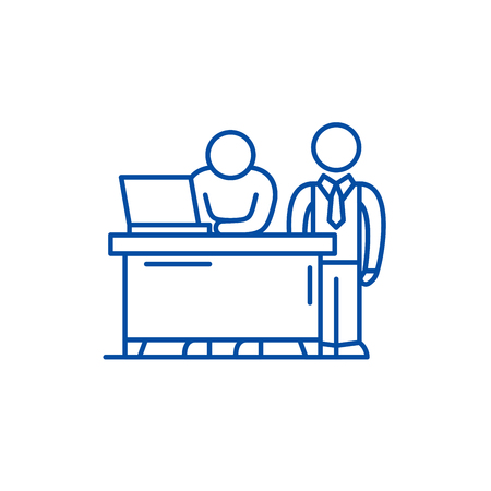 Business mentor line concept icon. Business mentor flat  vector website sign, outline symbol, illustration.