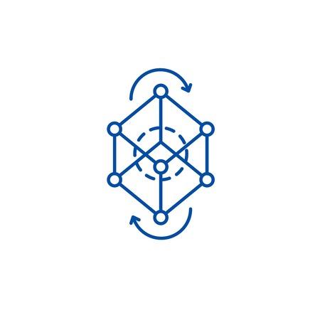 Business model pivot line concept icon. Business model pivot flat vector website sign, outline symbol, illustration. Vector Illustratie