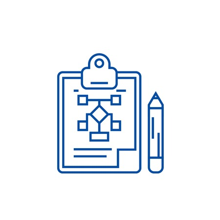 Business plan,pencil,clipboard line concept icon. Business plan,pencil,clipboard flat  vector website sign, outline symbol, illustration. Stockfoto - 119711311