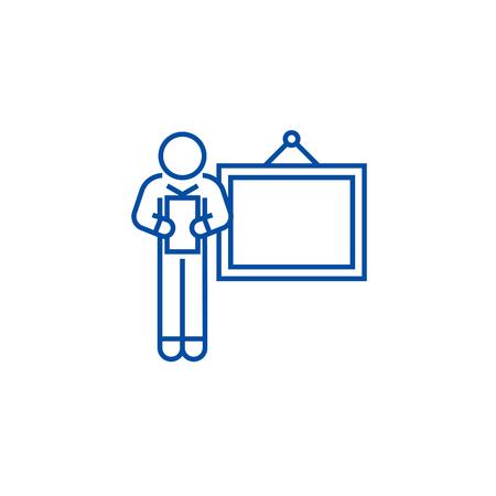 Business presentation speaker line concept icon. Business presentation speaker flat  vector website sign, outline symbol, illustration. Illustration