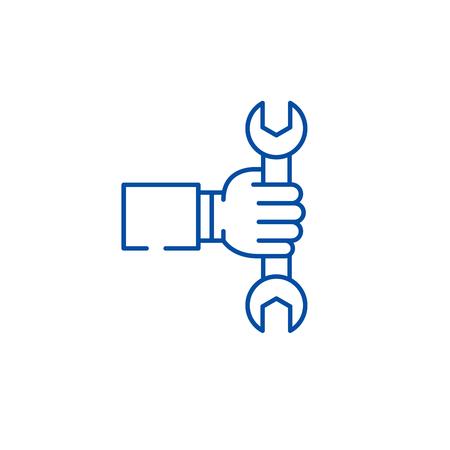 Business production line concept icon. Business production flat  vector website sign, outline symbol, illustration.