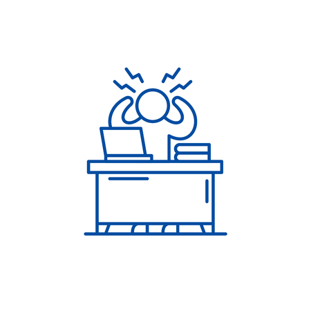Business stress line concept icon. Business stress flat  vector website sign, outline symbol, illustration. 스톡 콘텐츠 - 119711347
