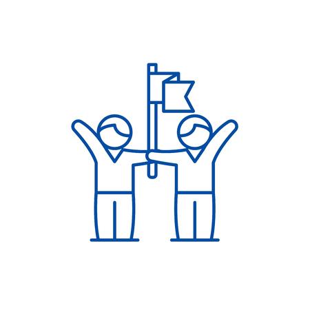 Business team success line concept icon. Business team success flat  vector website sign, outline symbol, illustration.