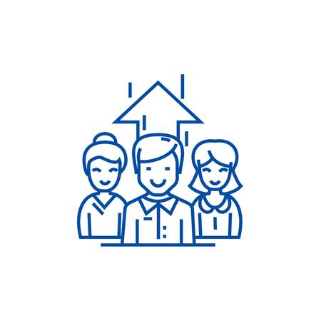 Business team, businesswoman and  line concept icon. Business team, businesswoman and  flat  vector website sign, outline symbol, illustration.