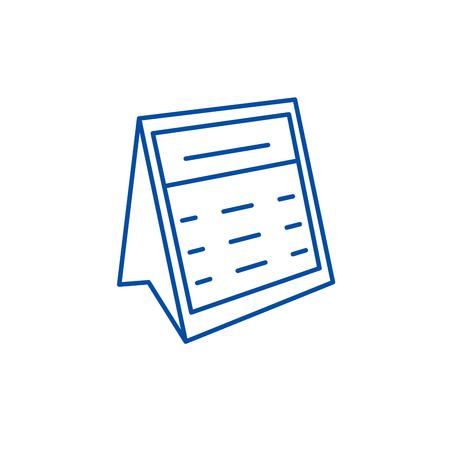 Calendar note line concept icon. Calendar note flat  vector website sign, outline symbol, illustration.