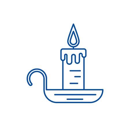 Candle line concept icon. Candle flat  vector website sign, outline symbol, illustration. Ilustração