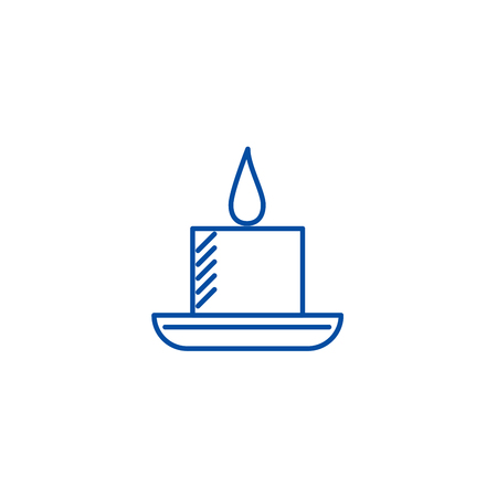 Candle in spa line concept icon. Candle in spa flat  vector website sign, outline symbol, illustration.
