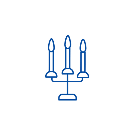 Candles with three candelabrum line concept icon. Candles with three candelabrum flat  vector website sign, outline symbol, illustration.