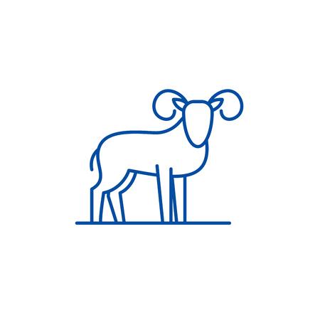 Capricorn line concept icon. Capricorn flat  vector website sign, outline symbol, illustration.