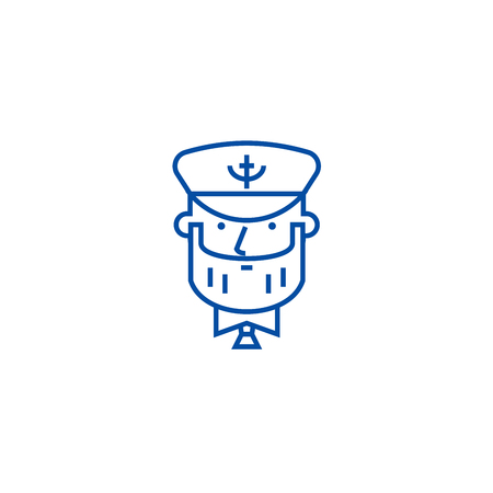 Captain with nautical hat line concept icon. Captain with nautical hat flat  vector website sign, outline symbol, illustration.
