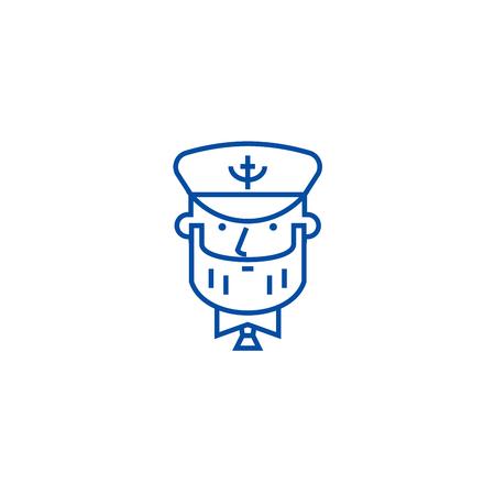 Captain with nautical hat line concept icon. Captain with nautical hat flat  vector website sign, outline symbol, illustration.