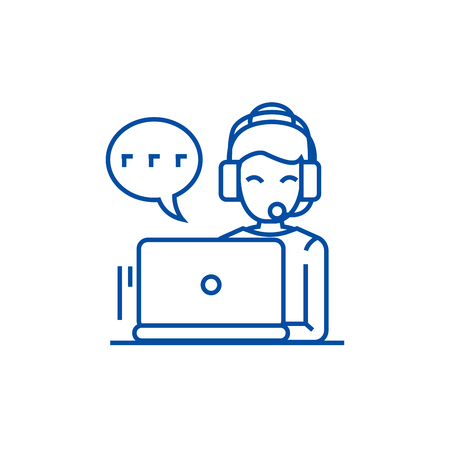 Call center,woman with headset  line concept icon. Call center,woman with headset  flat  vector website sign, outline symbol, illustration. Ilustração