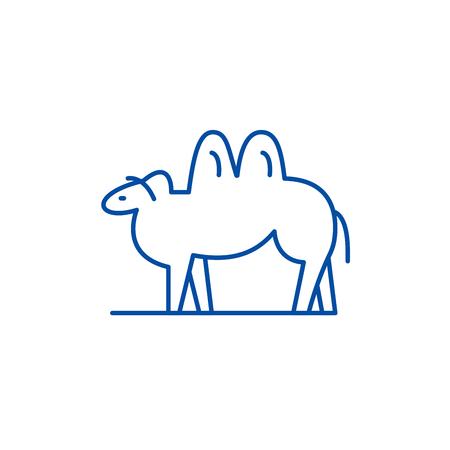 Camel line concept icon. Camel flat  vector website sign, outline symbol, illustration.
