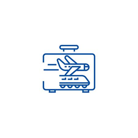 Business traveling line concept icon. Business traveling flat  vector website sign, outline symbol, illustration. Illustration