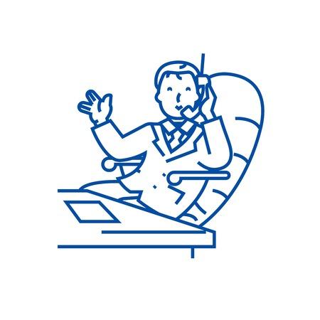 Businessman in office with phone line concept icon. Businessman in office with phone flat  vector website sign, outline symbol, illustration.