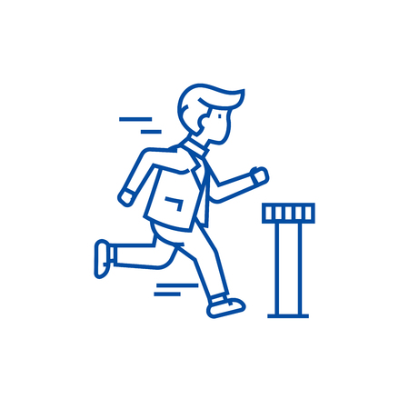 Businessman running to finish line concept icon. Businessman running to finish flat  vector website sign, outline symbol, illustration.